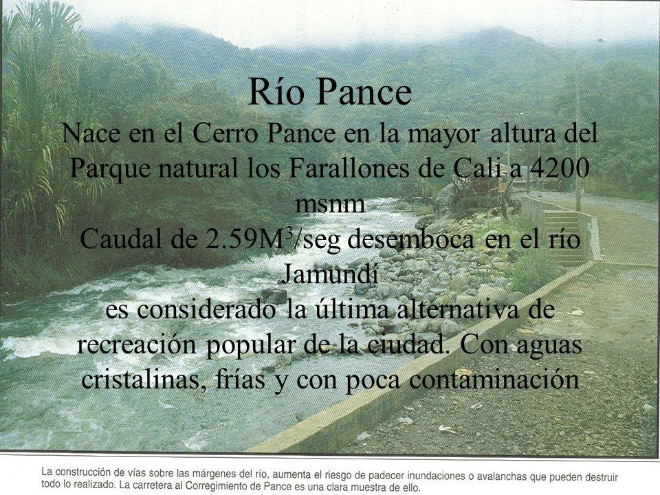 Río Pance Nace en el Cerro Pance en la mayor altura del Parque natural los Farallones de Cali a 4200 msnm Caudal de 2.59M 3 /seg desemboca en el río J