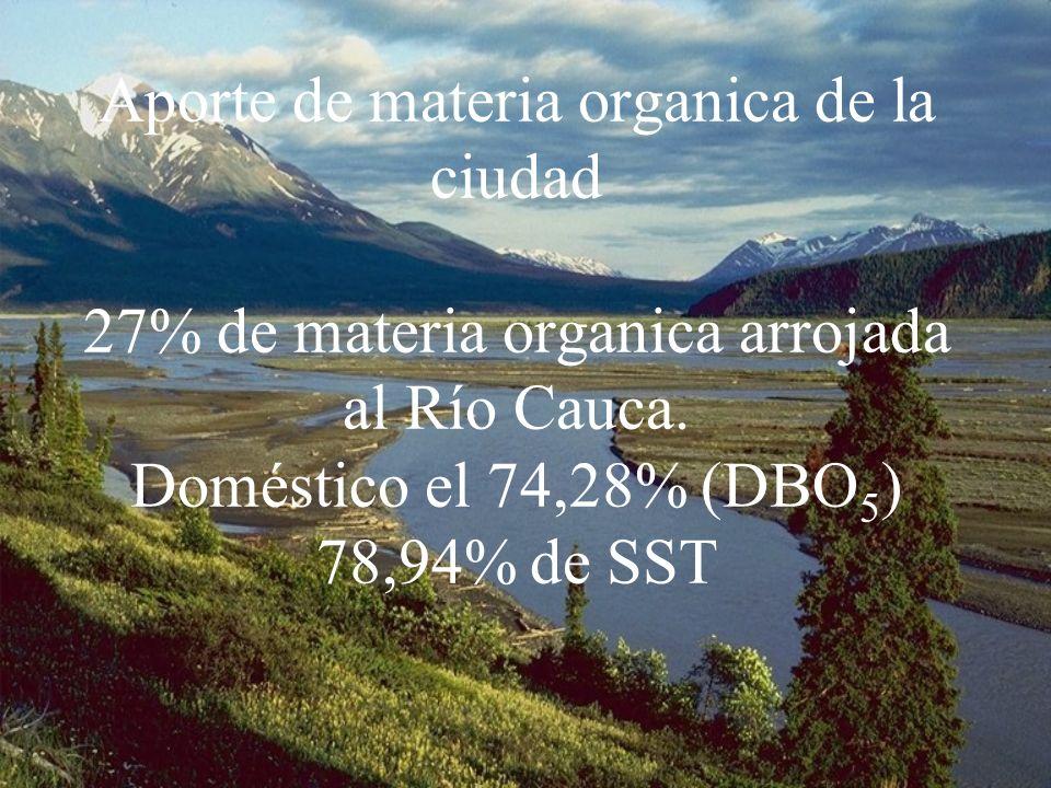 Aporte de materia organica de la ciudad 27% de materia organica arrojada al Río Cauca. Doméstico el 74,28% (DBO 5 ) 78,94% de SST