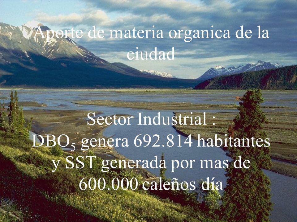 Aporte de materia organica de la ciudad Sector Industrial : DBO 5 genera 692.814 habitantes y SST generada por mas de 600.000 caleños día