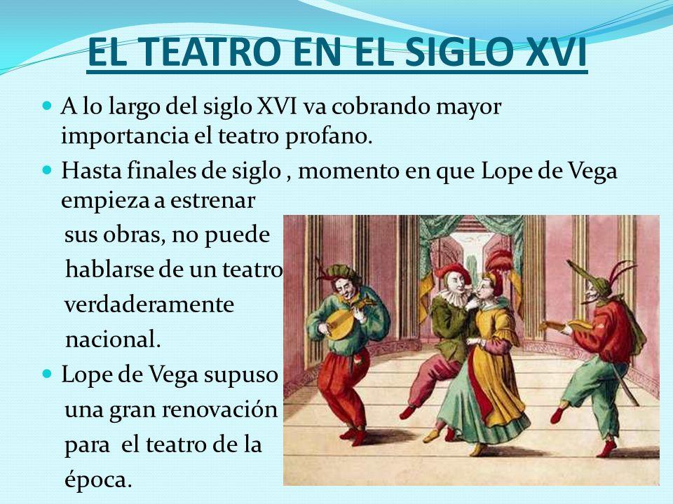EL TEATRO EN EL SIGLO XVI A lo largo del siglo XVI va cobrando mayor importancia el teatro profano. Hasta finales de siglo, momento en que Lope de Veg