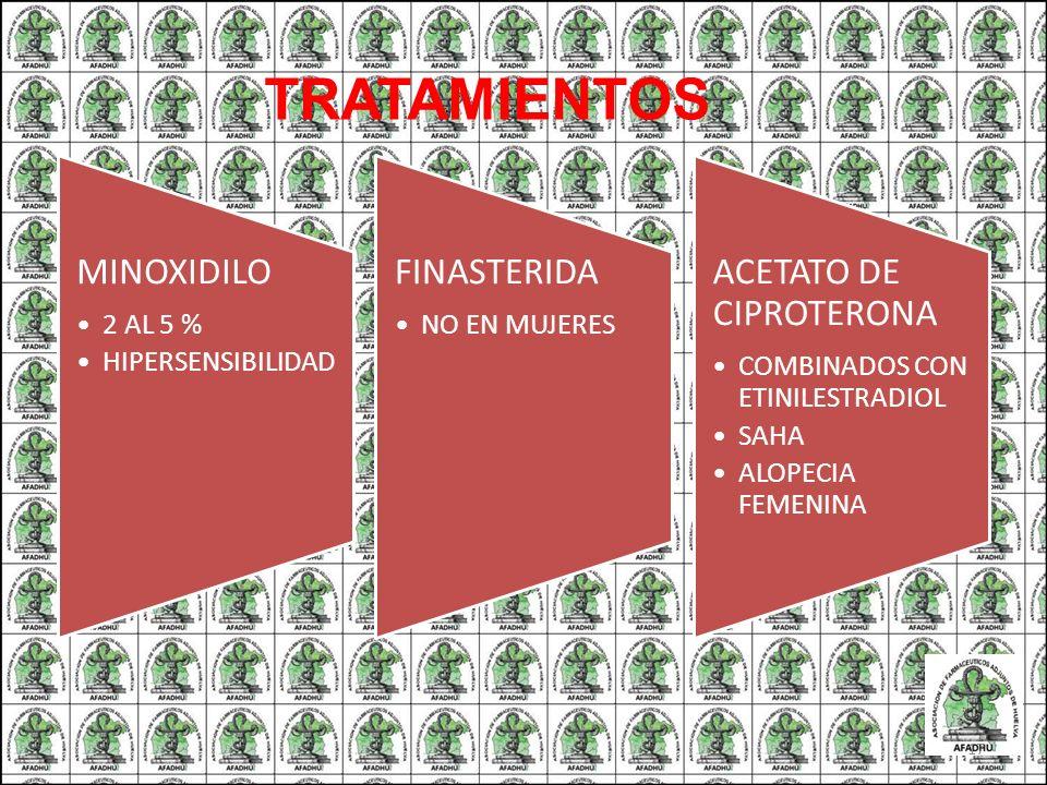 TRATAMIENTOS MINOXIDILO 2 AL 5 % HIPERSENSIBILIDAD FINASTERIDA NO EN MUJERES ACETATO DE CIPROTERONA COMBINADOS CON ETINILESTRADIOL SAHA ALOPECIA FEMEN