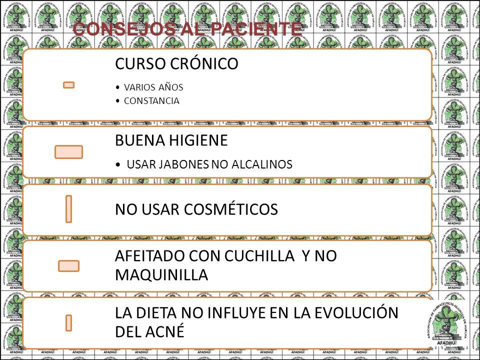 CONSEJOS AL PACIENTE CURSO CRÓNICO VARIOS AÑOS CONSTANCIA BUENA HIGIENE USAR JABONES NO ALCALINOS NO USAR COSMÉTICOS AFEITADO CON CUCHILLA Y NO MAQUIN