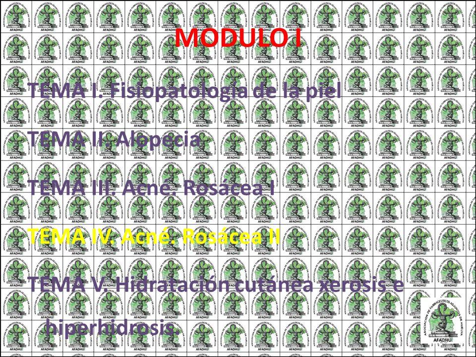 MODULO I TEMA I. Fisiopatología de la piel TEMA II. Alopecia TEMA III. Acné. Rosácea I TEMA IV. Acné. Rosácea II TEMA V. Hidratación cutánea xerosis e
