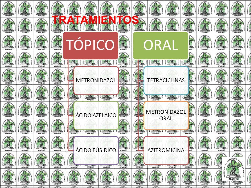 TÓPICO METRONIDAZOLÁCIDO AZELAICOÁCIDO FÚSIDICO ORAL TETRACICLINAS METRONIDAZOL ORAL AZITROMICINA TRATAMIENTOS 30