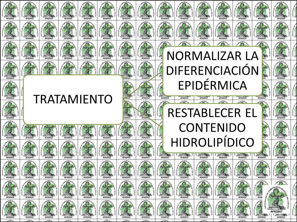 TRATAMIENTO NORMALIZAR LA DIFERENCIACIÓN EPIDÉRMICA RESTABLECER EL CONTENIDO HIDROLIPÍDICO 34