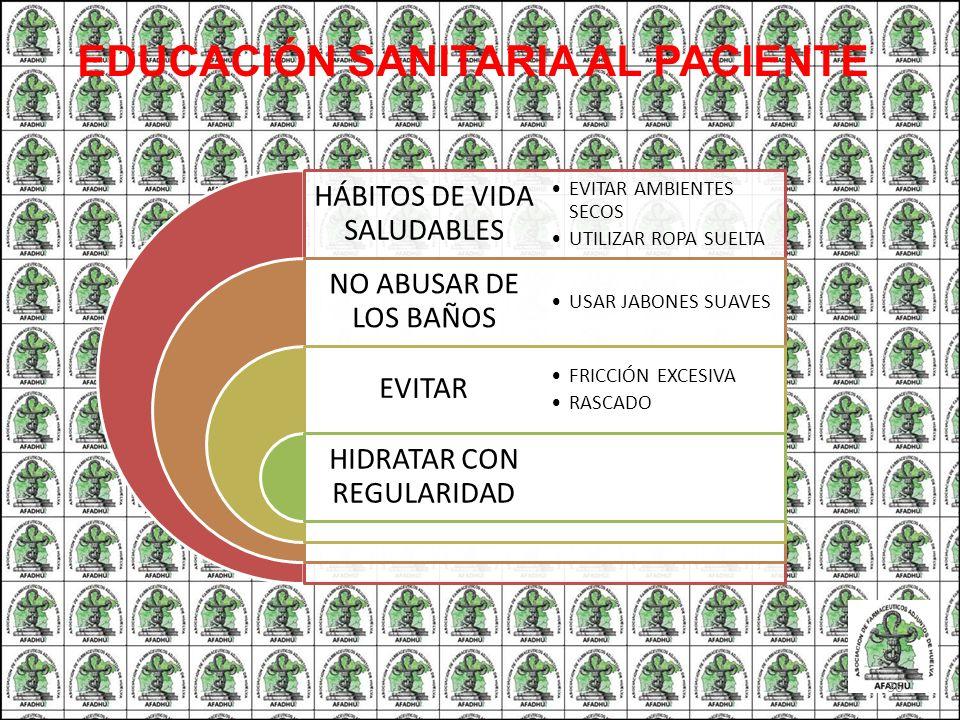 HÁBITOS DE VIDA SALUDABLES NO ABUSAR DE LOS BAÑOS EVITAR HIDRATAR CON REGULARIDAD EVITAR AMBIENTES SECOS UTILIZAR ROPA SUELTA USAR JABONES SUAVES FRIC