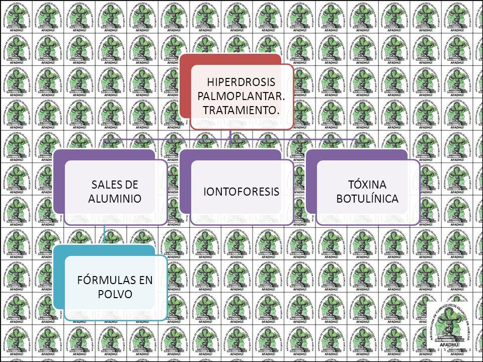 HIPERDROSIS PALMOPLANTAR. TRATAMIENTO. SALES DE ALUMINIO FÓRMULAS EN POLVO IONTOFORESIS TÓXINA BOTULÍNICA 39