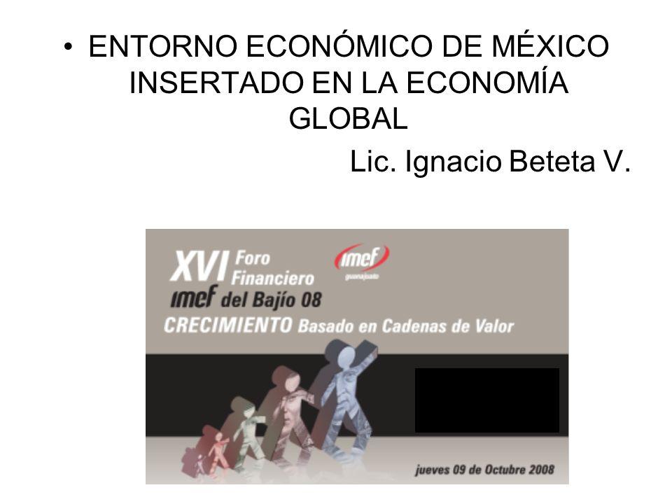 ENTORNO ECONÓMICO DE MÉXICO INSERTADO EN LA ECONOMÍA GLOBAL Lic. Ignacio Beteta V.