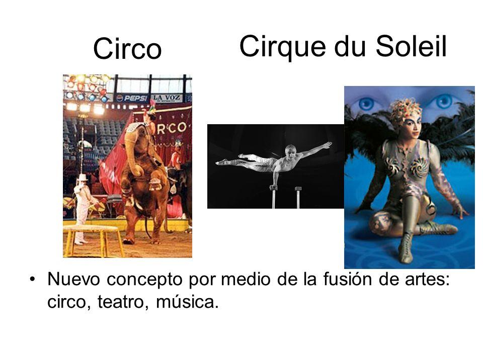 Circo Nuevo concepto por medio de la fusión de artes: circo, teatro, música. Cirque du Soleil