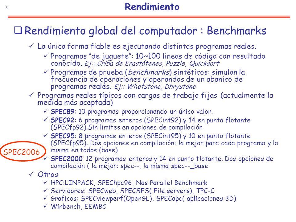 31 Rendimiento Rendimiento global del computador : Benchmarks La única forma fiable es ejecutando distintos programas reales. Programas de juguete: 10