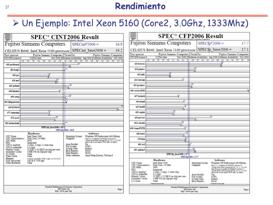37 Rendimiento Un Ejemplo: Intel Xeon 5160 (Core2, 3.0Ghz, 1333Mhz)