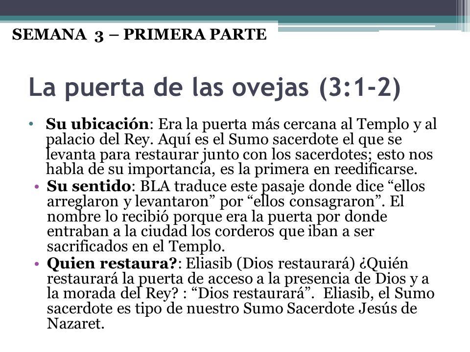 La puerta de las ovejas (3:1-2) Su ubicación: Era la puerta más cercana al Templo y al palacio del Rey. Aquí es el Sumo sacerdote el que se levanta pa