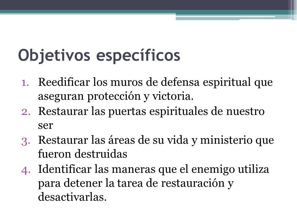 Objetivos específicos 1.Reedificar los muros de defensa espiritual que aseguran protección y victoria. 2.Restaurar las puertas espirituales de nuestro