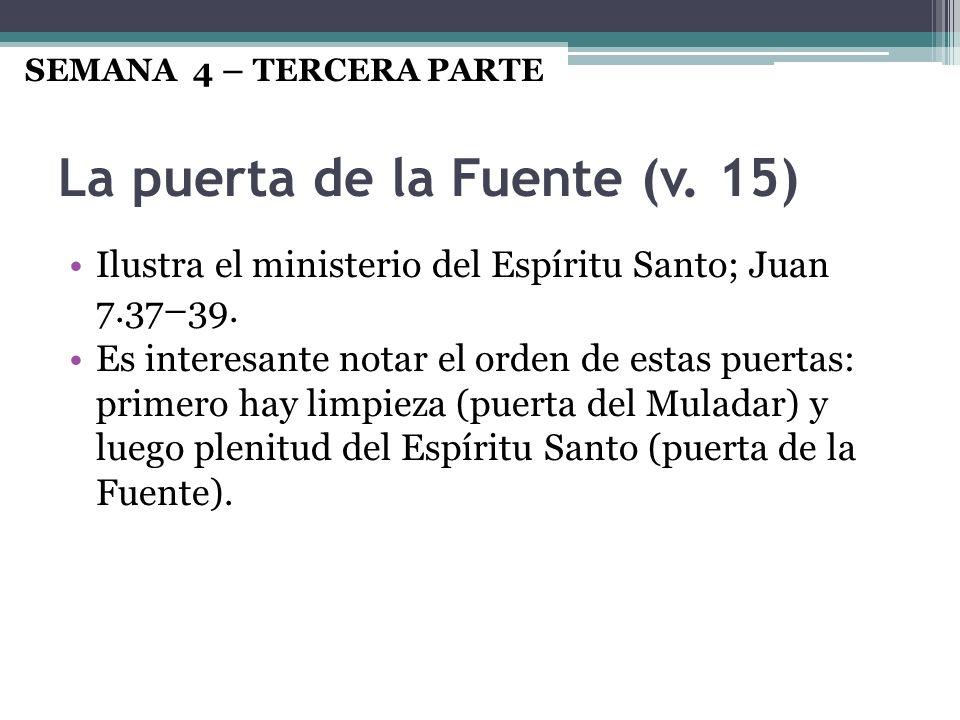 La puerta de la Fuente (v. 15) Ilustra el ministerio del Espíritu Santo; Juan 7.37–39. Es interesante notar el orden de estas puertas: primero hay lim