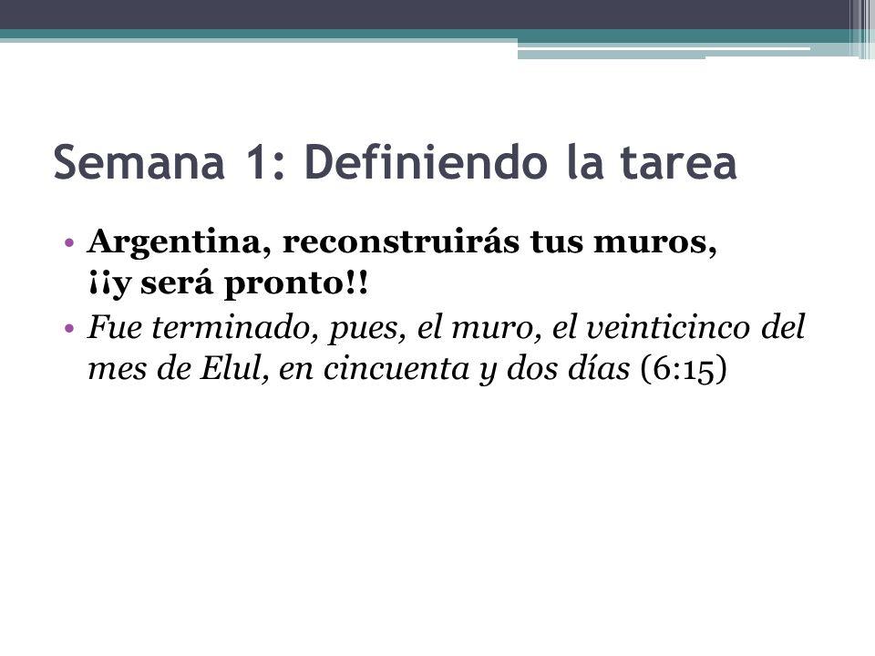 Semana 1: Definiendo la tarea Argentina, reconstruirás tus muros, ¡¡y será pronto!! Fue terminado, pues, el muro, el veinticinco del mes de Elul, en c