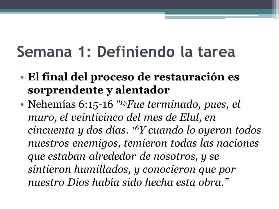 Semana 1: Definiendo la tarea El final del proceso de restauración es sorprendente y alentador Nehemías 6:15-16 15 Fue terminado, pues, el muro, el ve