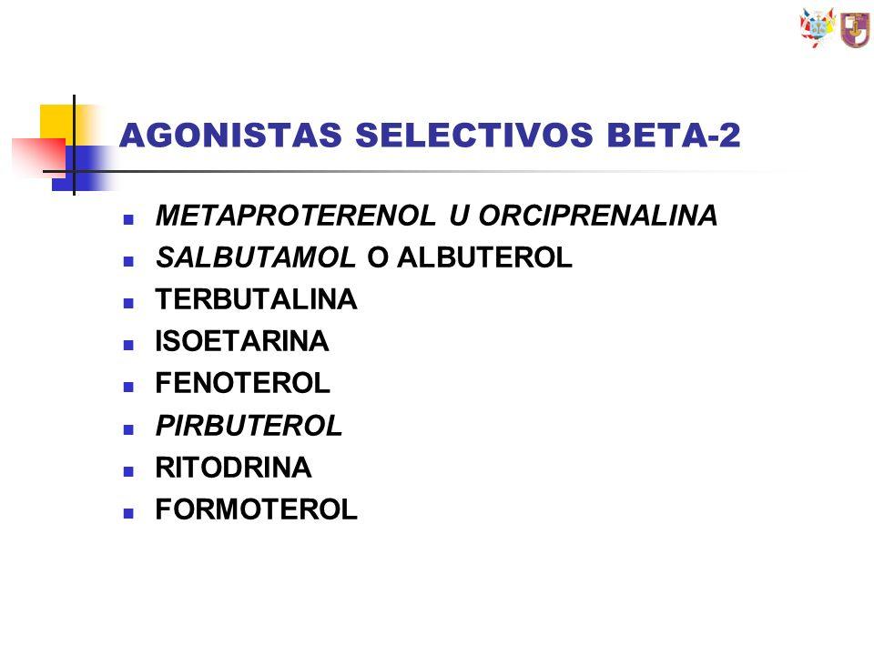 AGONISTAS SELECTIVOS BETA-2 METAPROTERENOL U ORCIPRENALINA SALBUTAMOL O ALBUTEROL TERBUTALINA ISOETARINA FENOTEROL PIRBUTEROL RITODRINA FORMOTEROL