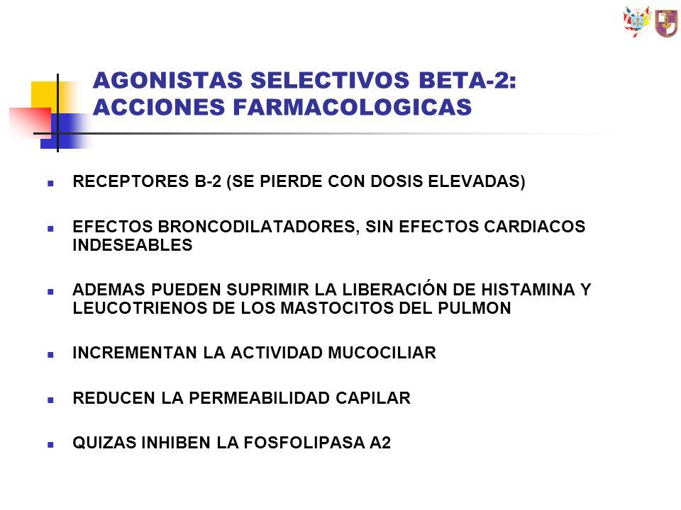 AGONISTAS SELECTIVOS BETA-2: ACCIONES FARMACOLOGICAS RECEPTORES B-2 (SE PIERDE CON DOSIS ELEVADAS) EFECTOS BRONCODILATADORES, SIN EFECTOS CARDIACOS IN