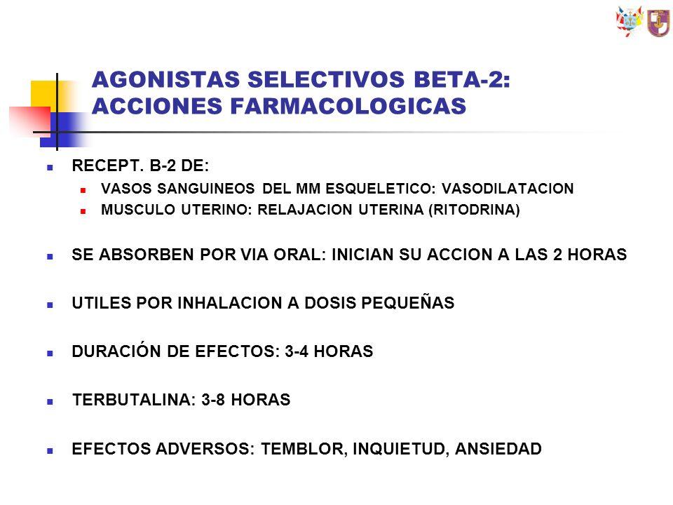 AGONISTAS SELECTIVOS BETA-2: ACCIONES FARMACOLOGICAS RECEPT. B-2 DE: VASOS SANGUINEOS DEL MM ESQUELETICO: VASODILATACION MUSCULO UTERINO: RELAJACION U