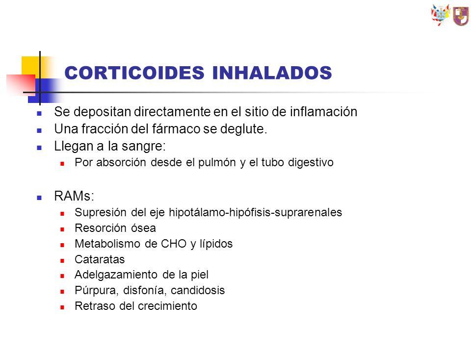 CORTICOIDES INHALADOS Se depositan directamente en el sitio de inflamación Una fracción del fármaco se deglute. Llegan a la sangre: Por absorción desd