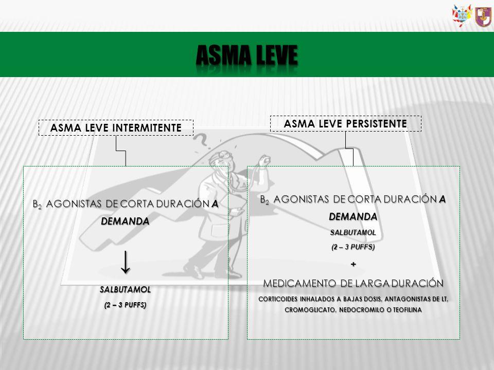 ASMA LEVE INTERMITENTE Β 2 AGONISTAS DE CORTA DURACIÓN A DEMANDA SALBUTAMOL (2 – 3 PUFFS) ASMA LEVE PERSISTENTE Β 2 AGONISTAS DE CORTA DURACIÓN A DEMA