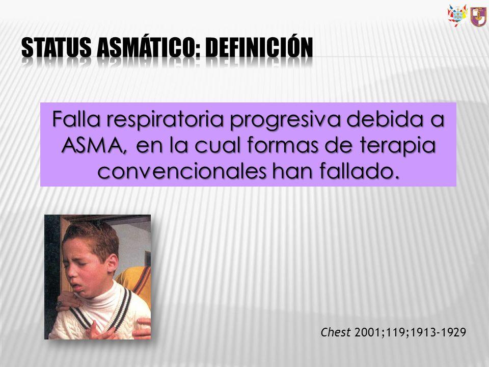 Falla respiratoria progresiva debida a ASMA, en la cual formas de terapia convencionales han fallado. Chest 2001;119;1913-1929