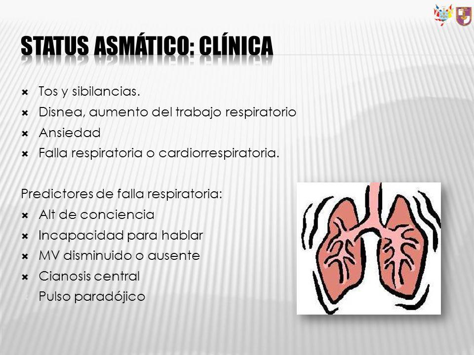 Tos y sibilancias. Disnea, aumento del trabajo respiratorio Ansiedad Falla respiratoria o cardiorrespiratoria. Predictores de falla respiratoria: Alt