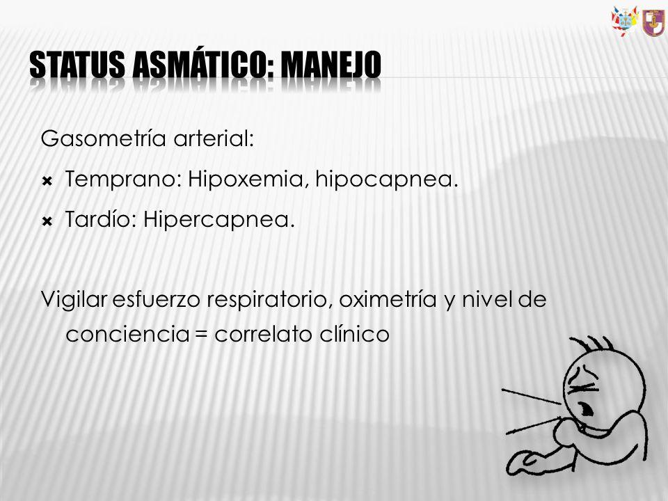 Gasometría arterial: Temprano: Hipoxemia, hipocapnea. Tardío: Hipercapnea. Vigilar esfuerzo respiratorio, oximetría y nivel de conciencia = correlato