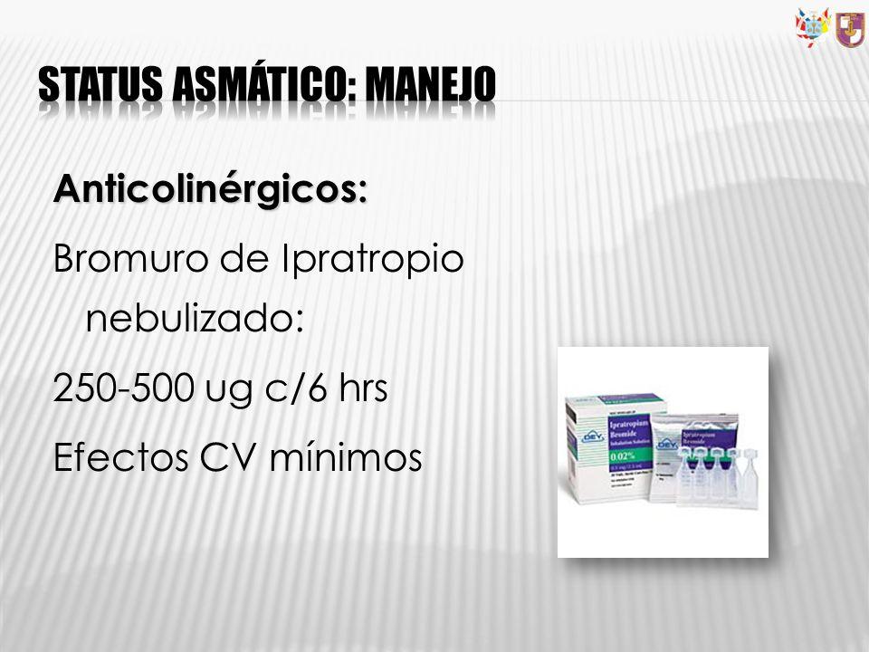 Anticolinérgicos: Bromuro de Ipratropio nebulizado: 250-500 ug c/6 hrs Efectos CV mínimos