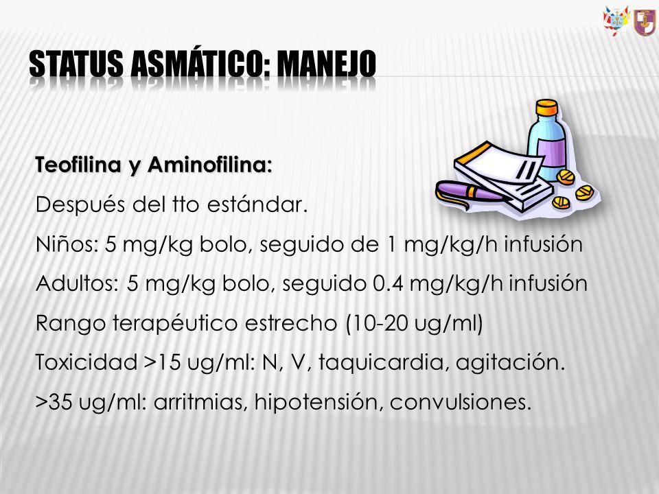 Teofilina y Aminofilina: Después del tto estándar. Niños: 5 mg/kg bolo, seguido de 1 mg/kg/h infusión Adultos: 5 mg/kg bolo, seguido 0.4 mg/kg/h infus