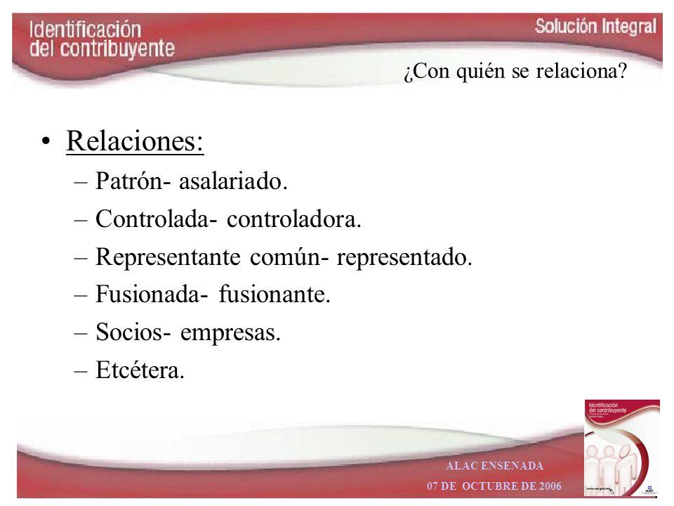 ALAC ENSENADA 07 DE OCTUBRE DE 2006 ¿Qué hace? Características fiscales: –Actividades económicas (incluyendo preponderante). –Obligaciones fiscales. –
