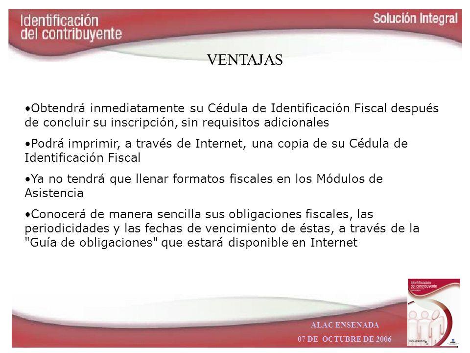 ALAC ENSENADA 07 DE OCTUBRE DE 2006 Descripción. –El servicio de Identificación del Contribuyente contempla servicios de inscripción y actualización d