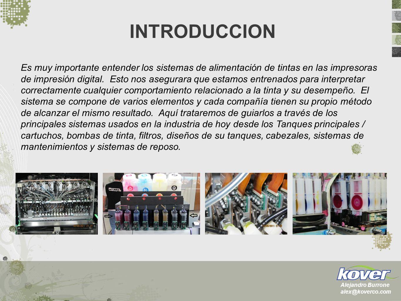 Cartuchos Bulk Bulk con flotador Standard Dámpers Normal dámper Válvula Cabezales Drop on Demand (DOD) principios de operación – una bomba de tinta Thermal Ink Jet (TIJ) Continuous Ink Jet (CIJ) Piezo Ink Jet (PIJ) Selección primaria: XAAR: 128/200, 360, Plus Spectra: Nova 256, Sx128, Polaris Konica: KM512(14/42pl), 1024 Epson: DX4/5/7 Seiko: SPT510(15/35pl) Ricoh: Gen 3 E1, Gen 4 E1 INDICE Alejandro Burrone alex@koverco.com