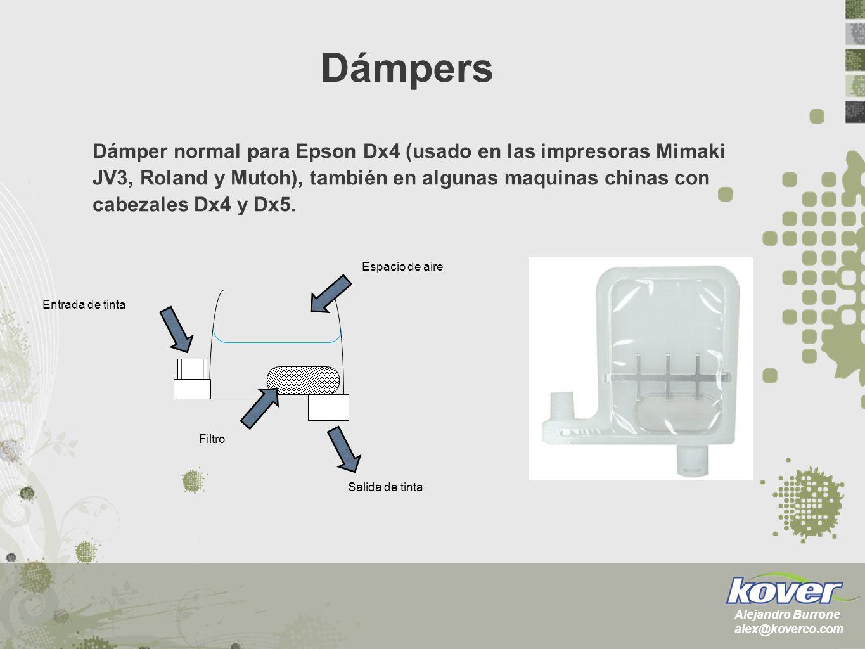 Dámpers con válvula utilizados en las impresoras con Cabezales Epson DX5 y DX7, como Mimaki JV33, JV5 & CJV-30: Dámpers Alejandro Burrone alex@koverco.com Dámpers con doble sistema.