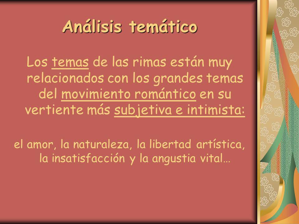 Análisis temático Los temas de las rimas están muy relacionados con los grandes temas del movimiento romántico en su vertiente más subjetiva e intimis