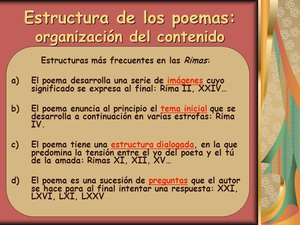 Estructura de los poemas: organización del contenido Estructuras más frecuentes en las Rimas: a)El poema desarrolla una serie de imágenes cuyo signifi