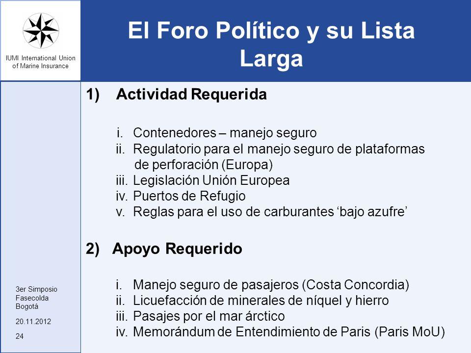 IUMI International Union of Marine Insurance El Foro Político y su Lista Larga 1) Actividad Requerida i.Contenedores – manejo seguro ii.Regulatorio pa