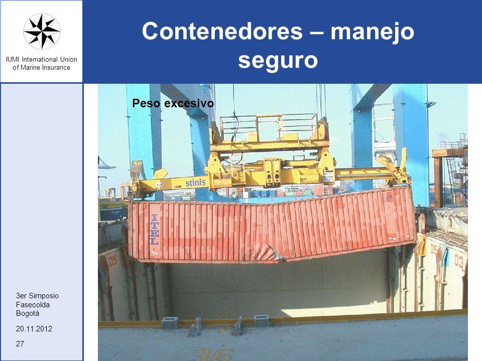 IUMI International Union of Marine Insurance Contenedores – manejo seguro 20.11.2012 3er Simposio Fasecolda Bogotá 27 Peso excesivo