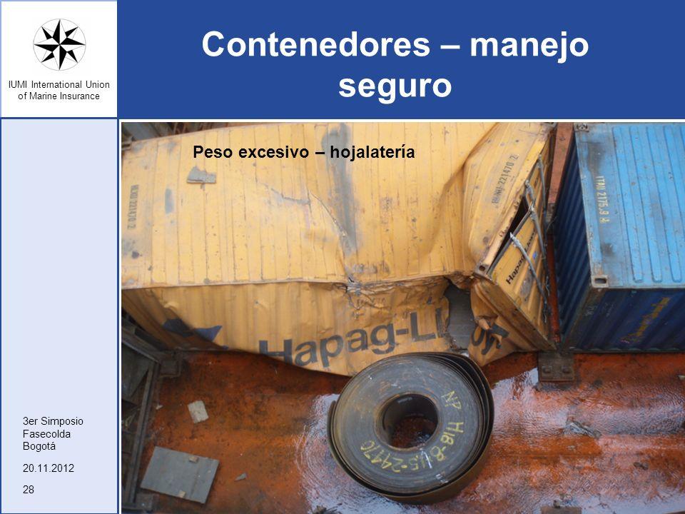 IUMI International Union of Marine Insurance Contenedores – manejo seguro 20.11.2012 3er Simposio Fasecolda Bogotá 28 Peso excesivo – hojalatería