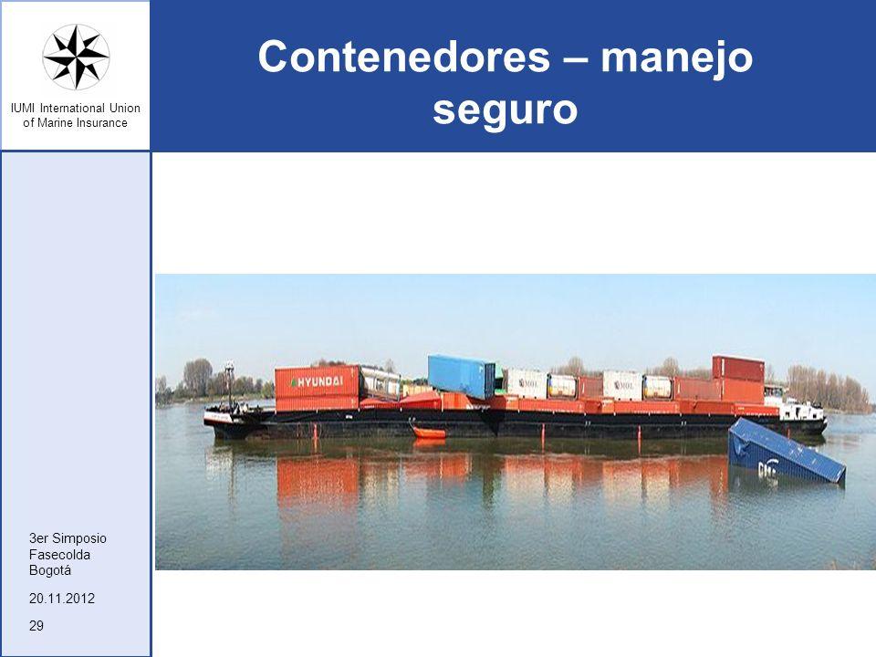 IUMI International Union of Marine Insurance Contenedores – manejo seguro 20.11.2012 3er Simposio Fasecolda Bogotá 29