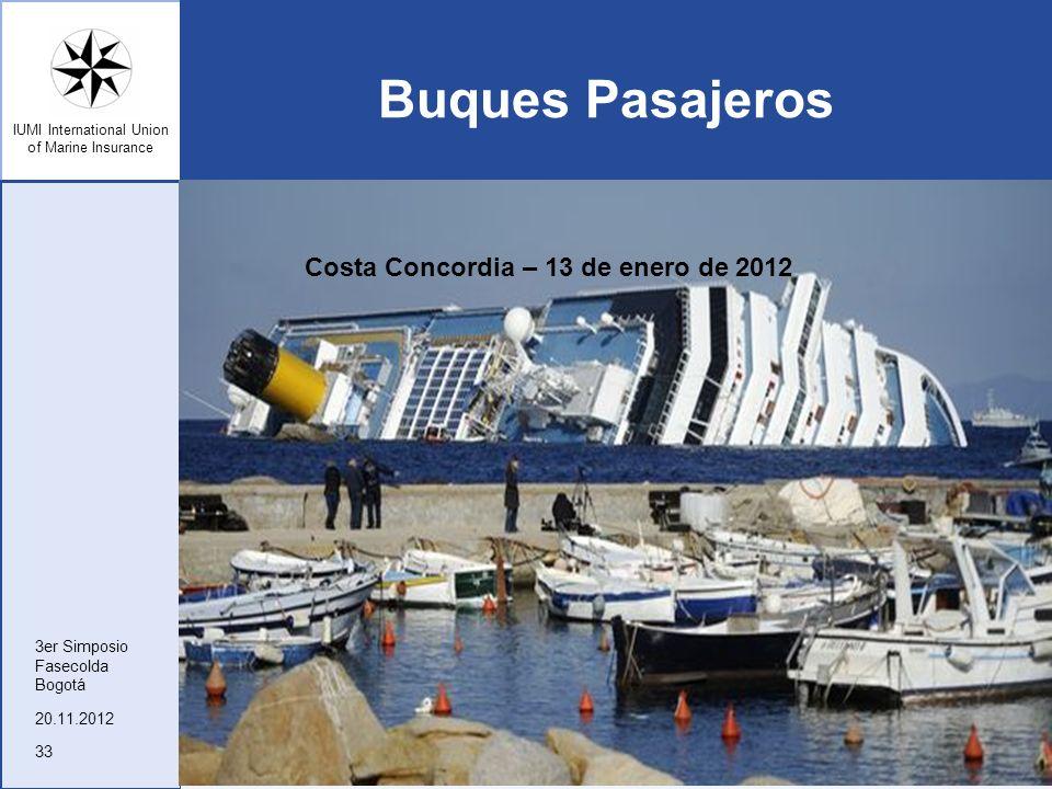 IUMI International Union of Marine Insurance Buques Pasajeros 20.11.2012 3er Simposio Fasecolda Bogotá 33 Costa Concordia – 13 de enero de 2012
