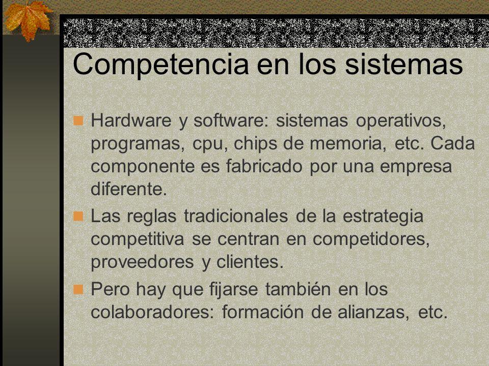 Competencia en los sistemas Hardware y software: sistemas operativos, programas, cpu, chips de memoria, etc. Cada componente es fabricado por una empr