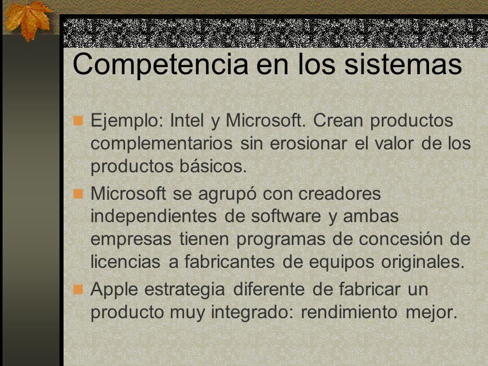 Competencia en los sistemas Ejemplo: Intel y Microsoft. Crean productos complementarios sin erosionar el valor de los productos básicos. Microsoft se
