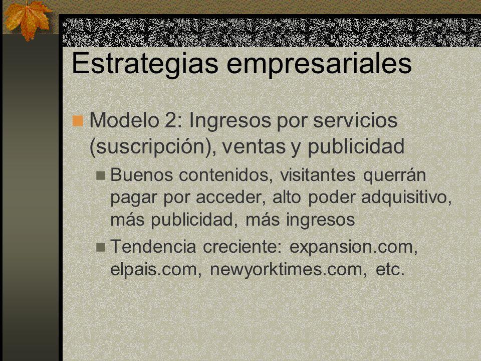 Estrategias empresariales Modelo 2: Ingresos por servicios (suscripción), ventas y publicidad Buenos contenidos, visitantes querrán pagar por acceder,