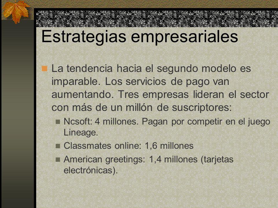 Estrategias empresariales La tendencia hacia el segundo modelo es imparable. Los servicios de pago van aumentando. Tres empresas lideran el sector con