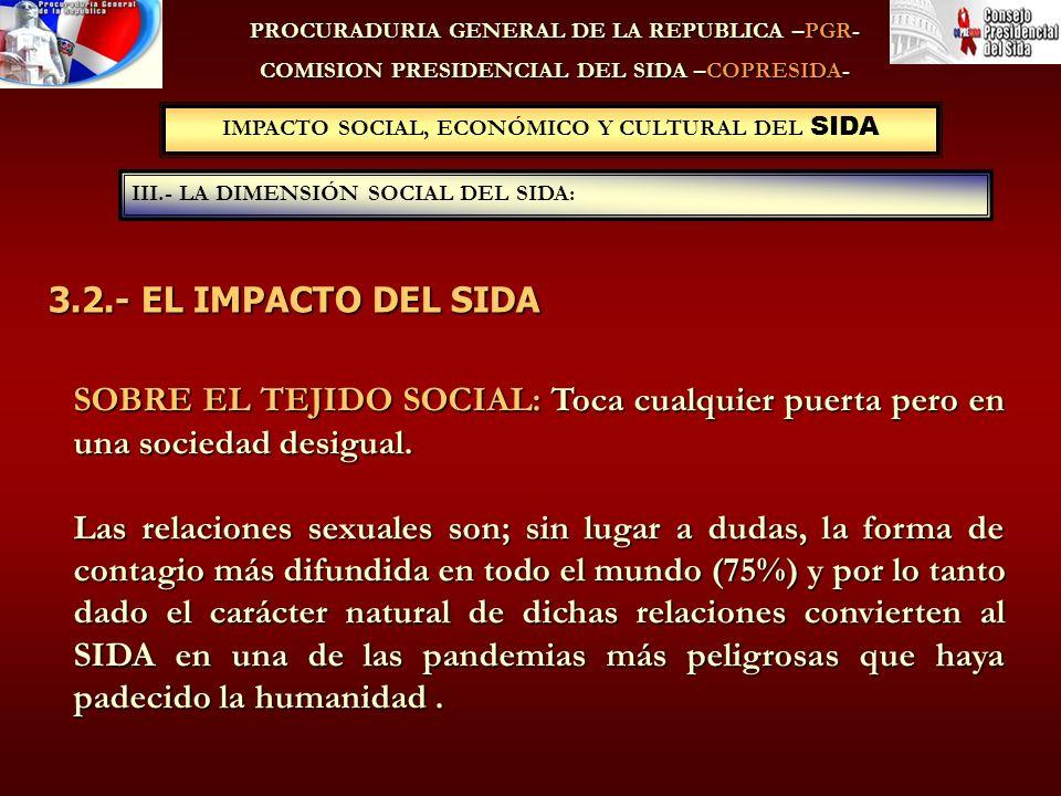 IMPACTO SOCIAL, ECONÓMICO Y CULTURAL DEL SIDA III.- LA DIMENSIÓN SOCIAL DEL SIDA: PROCURADURIA GENERAL DE LA REPUBLICA –PGR- COMISION PRESIDENCIAL DEL SIDA –COPRESIDA- SOBRE EL TEJIDO SOCIAL: Toca cualquier puerta pero en una sociedad desigual.