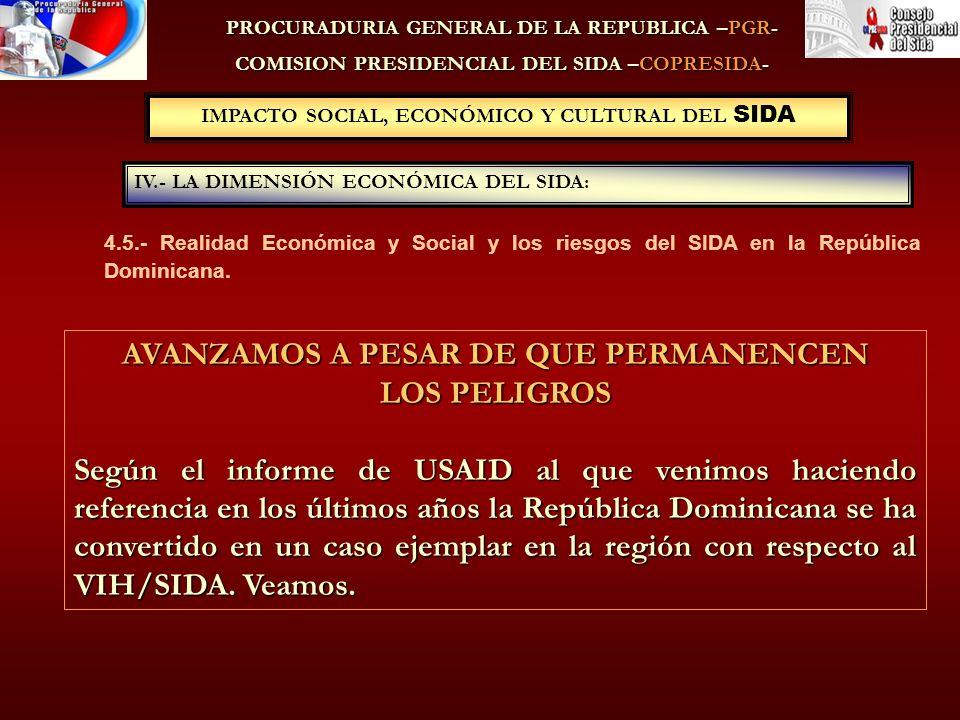 PROCURADURIA GENERAL DE LA REPUBLICA –PGR- COMISION PRESIDENCIAL DEL SIDA –COPRESIDA- 4.5.- Realidad Económica y Social y los riesgos del SIDA en la República Dominicana.