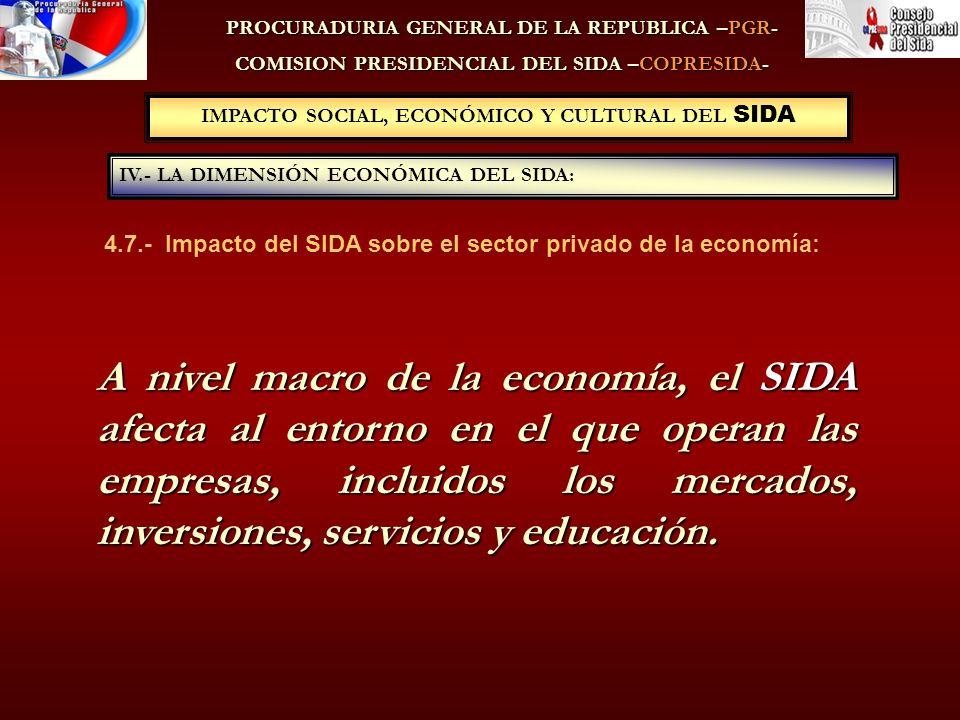IMPACTO SOCIAL, ECONÓMICO Y CULTURAL DEL SIDA IV.- LA DIMENSIÓN ECONÓMICA DEL SIDA: PROCURADURIA GENERAL DE LA REPUBLICA –PGR- COMISION PRESIDENCIAL DEL SIDA –COPRESIDA- A nivel macro de la economía, el SIDA afecta al entorno en el que operan las empresas, incluidos los mercados, inversiones, servicios y educación.