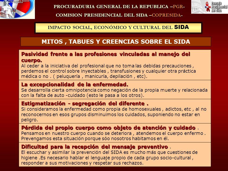 IMPACTO SOCIAL, ECONÓMICO Y CULTURAL DEL SIDA PROCURADURIA GENERAL DE LA REPUBLICA –PGR- COMISION PRESIDENCIAL DEL SIDA –COPRESIDA- MITOS, TABUES Y CREENCIAS SOBRE EL SIDA Pasividad frente a las profesiones vinculadas al manejo del cuerpo.