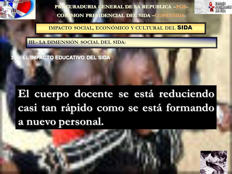 IMPACTO SOCIAL, ECONÓMICO Y CULTURAL DEL SIDA III.- LA DIMENSIÓN SOCIAL DEL SIDA: PROCURADURIA GENERAL DE LA REPUBLICA –PGR- COMISION PRESIDENCIAL DEL SIDA –COPRESIDA- 3.3.- EL IMPACTO EDUCATIVO DEL SIDA El cuerpo docente se está reduciendo casi tan rápido como se está formando a nuevo personal.